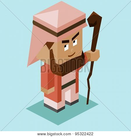 prophet moses with stick. vector illustration
