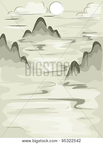 Illustration of Tall Mountains Framed by Fluffy Clouds