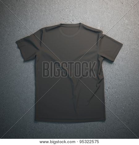 Black t-shirt on the gray background
