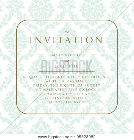 Wedding invitation on damask background. Template framework Wedding invitations or announcements with vintage background artwork