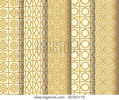 Set of Arabic seamless patterns. Abstract background. Vector illustration