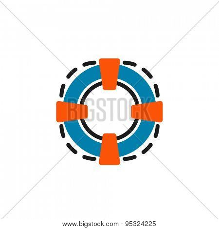 Color line icon for flat design isolated on white. Lifebuoy