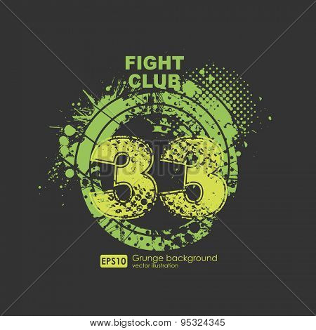 Grunge gangster lucky number print for t-shirt. Abstract dirt backgrounds texture. Grunge banner with an inky dribble strip with copy space. Abstract background for party