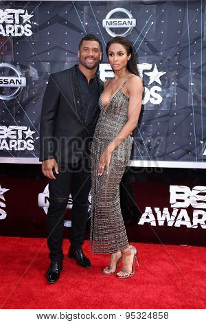 vLOS ANGELES - JUN 28:  Russell Wilson, Ciara at the 2015 BET Awards - Arrivals at the Microsoft Theater on June 28, 2015 in Los Angeles, CA