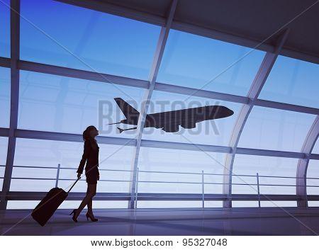 Businesslady holding luggage