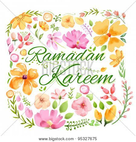 illustration of Ramadan Kareem (Generous Ramadan) greeting with floral watercolor painting