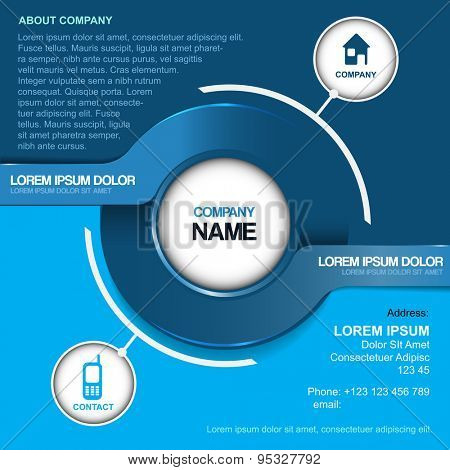 Blue abstract vector background for company contact with two label and contact icons.