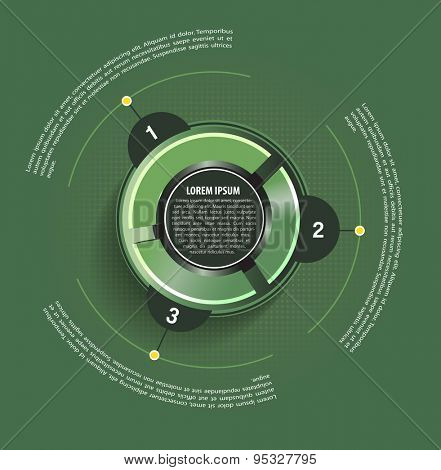 Green vector background with circle graph and with three places for text