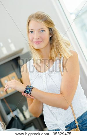 Girl modeling bracelet