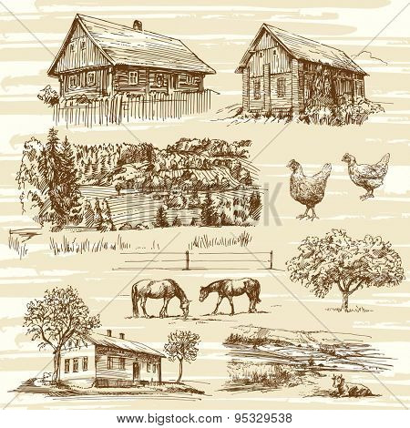 rural landscape and houses - hand drawn collection