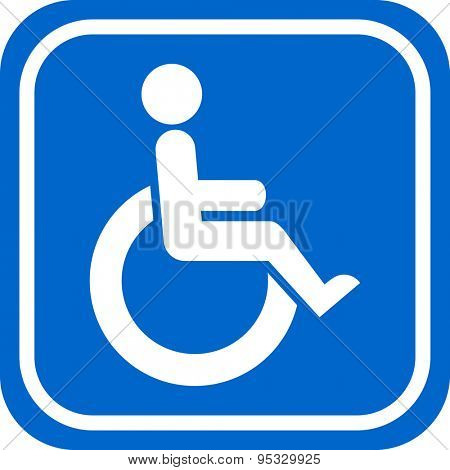 White and blue handicapped person sign.