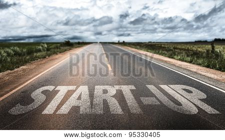 Start-Up written on rural road