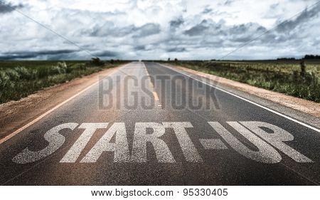 Start-Up written on rural road