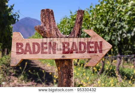 Baden-Baden wooden sign with winery background