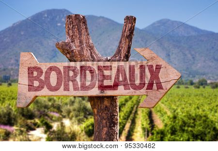 Bordeaux wooden sign with winery background