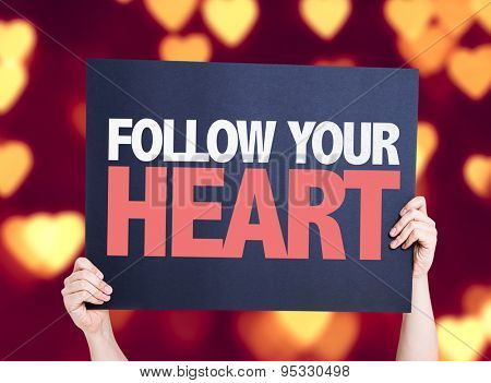 Follow Your Heart card with bokeh background
