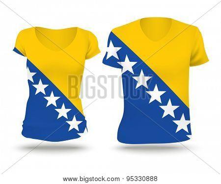 Flag shirt design of Bosnia and Herzegovina - vector illustration