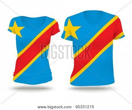Flag shirt design of Congo (DRC) - vector illustration