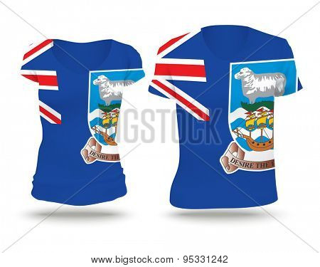 Flag shirt design of Falkland Islands - vector illustration