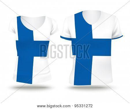 Flag shirt design of Finland - vector illustration