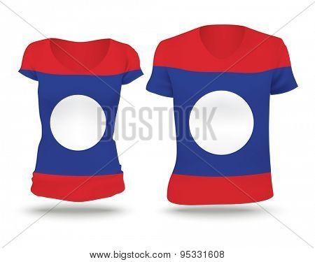 Flag shirt design of Laos - vector illustration