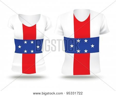 Flag shirt design of Netherlands Antilles - vector illustration
