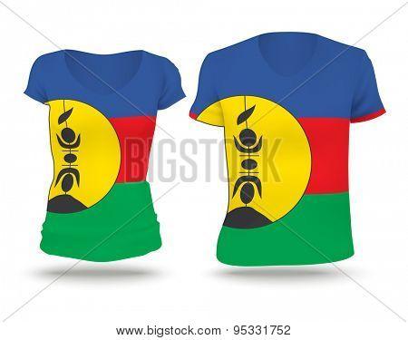 Flag shirt design of New Caledonia - vector illustration