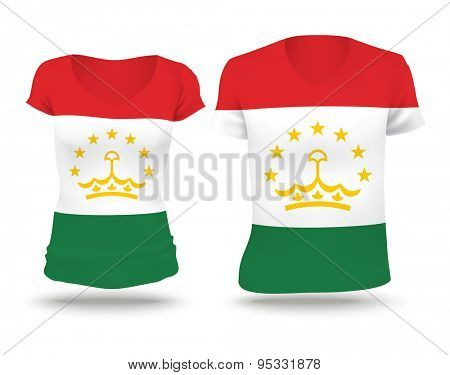 Flag shirt design of Tajikistan - vector illustration
