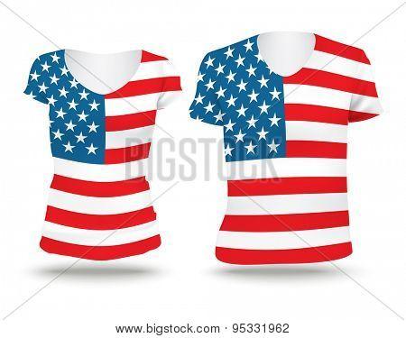 Flag shirt design of United States of America - vector illustration