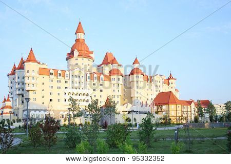 SOCHI, RUSSIA - JUL 27, 2014: Building of the Hotel Bogatyr in the style of a medieval castle on the territory of Sochi Park