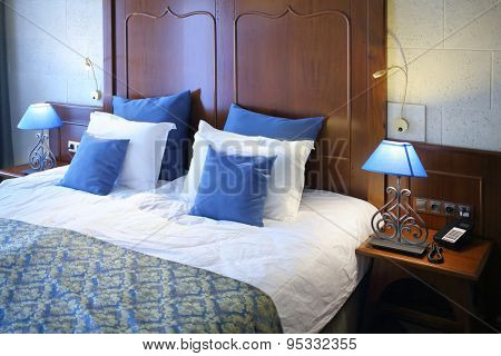 SOCHI, RUSSIA - JUL 28, 2014: The headboard of the bed in the superior room in the Hotel Bogatyr