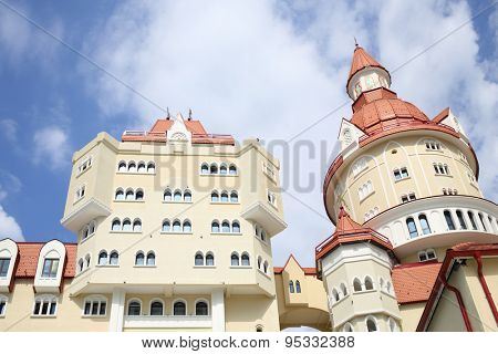 SOCHI, RUSSIA - JUL 28, 2014: Architecture of the Hotel Bogatyr in the style of a medieval castle