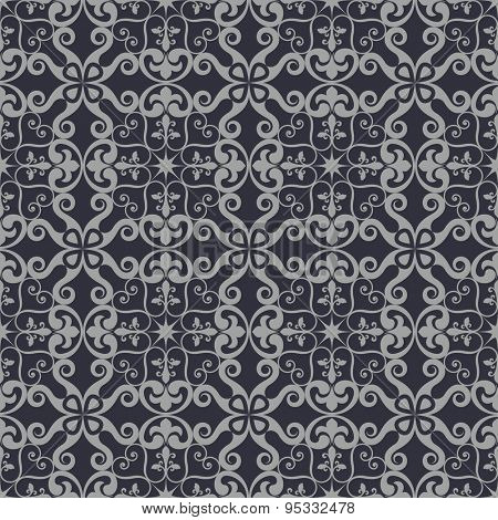 Seamless vintage grey floral vector wallpaper pattern.