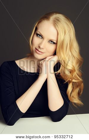Close-up portrait of a beautiful romantic woman smiling at camera. Beauty, fashion. Body care. Skin care.
