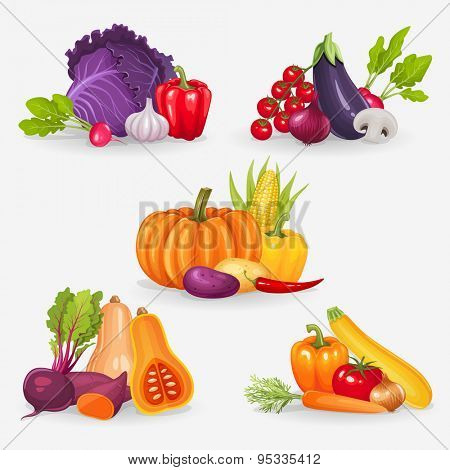 Set of fresh vegetables. Healthy food vector illustration background.