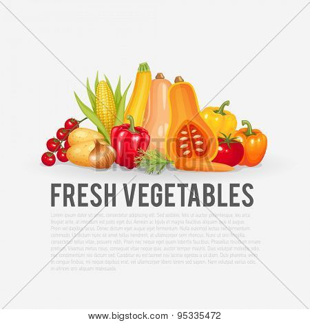 Fresh and organic vegetables. Healthy food vector illustration background.
