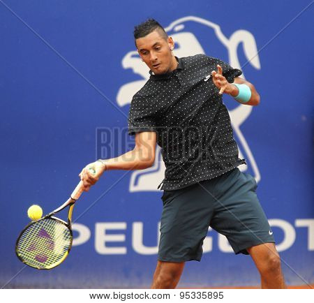 BARCELONA - APRIL, 22: Australian tennis player Nick Kirgios in action during a match of Barcelona tennis tournament Conde de Godo on April 22 2015 in Barcelona