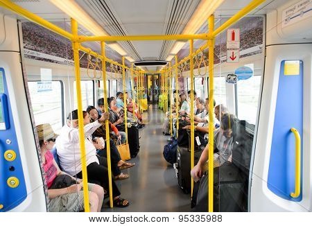 BANGKOK, THAILAND - JUNE 19, 2015: City Line Train interior. The Airport Rail Link is an commuter rail in Bangkok, Thailand. The City Line stops at all 8 stations.