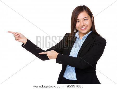 Young businesswoman with two finger point up