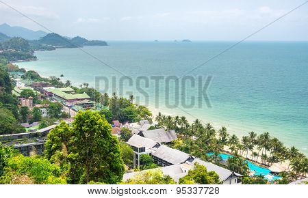 Thailand tropical island of Koh Chang. Viewpoint of White Sand Beach in Ko Chang, Thailand.
