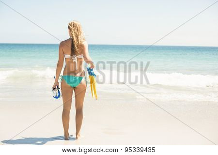 Wear view oh woman holding mask, scuba and fins at the beach