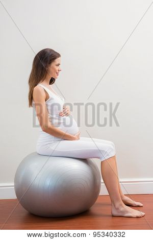 Happy pregnancy sitting on exercice ball on room