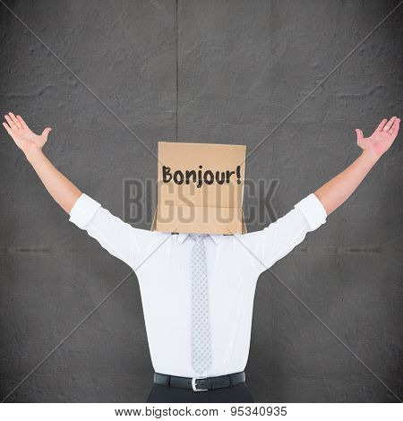 Anonymous cheering businessman against grey concrete tile