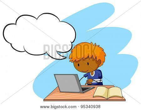 Boy doing his assignment on a laptop