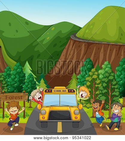 Children on school trip to a forest