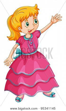 Girl in pink frock doing some action