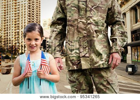 Soldier reunited with his daughter against new york street