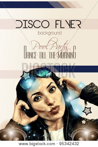 Attractive Club Disco Flyer with a Girl Dj listening to music. Ideal to use as Poster background, Flyer Design, Discotheque Event promotions, Dancing parties and so on.