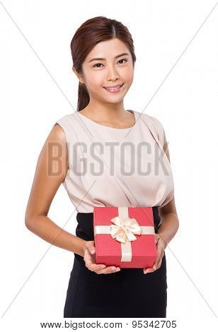 Asian woman show with red giftbox
