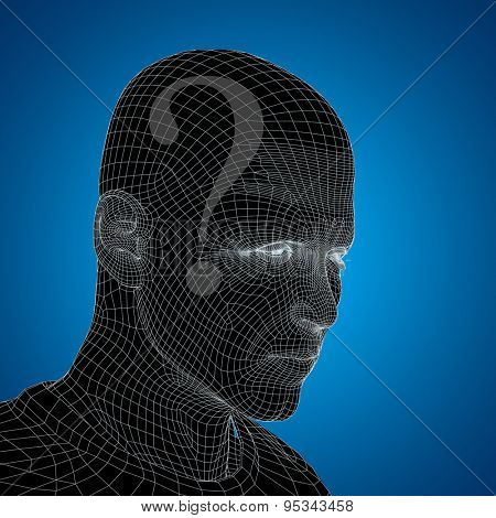 Concept or conceptual 3D wireframe human male man question ask head on blue background
